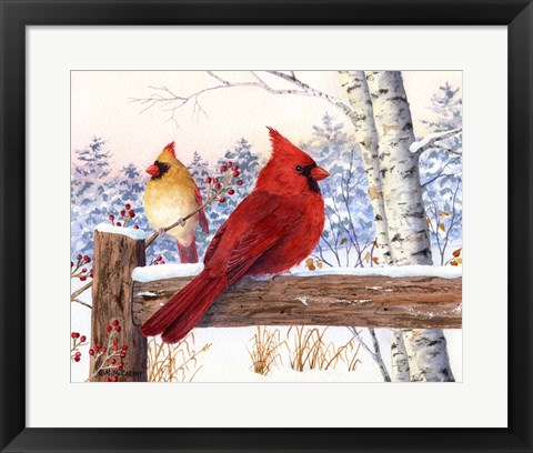 Framed Cardinal Pair with Birch Print