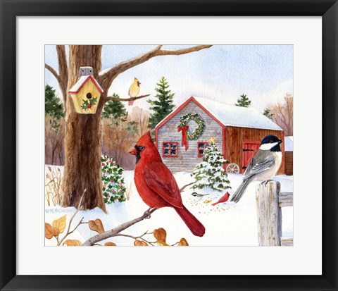 Framed Cardinal, Chickadee & Christmas Barn Print