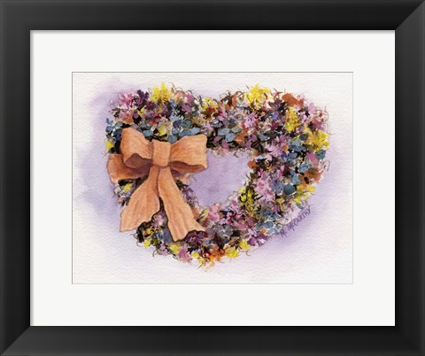Framed Dried Flower Wreath Print