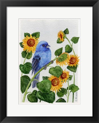 Framed Indigo Bunting And Sunflower Print