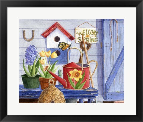 Framed Red Watering Can Print