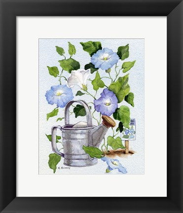 Framed Watering Can And Morning Glories Print