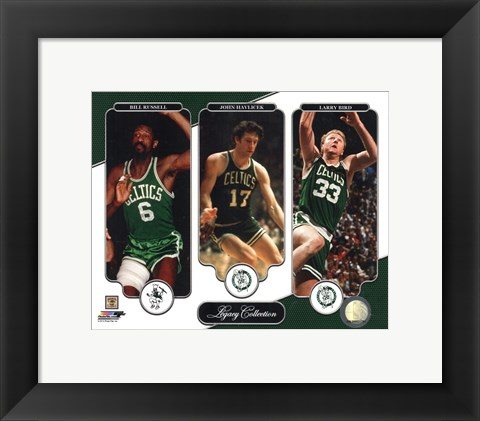 Framed Bill Russell, John Havlicek, & Larry Bird Legacy Collection Print