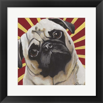 Framed Dlynn's Dogs - Puggins Print