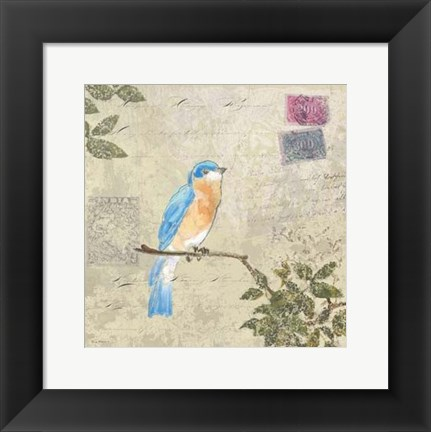 Framed Bird & Postage I Print
