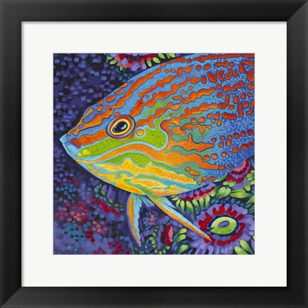 Framed Brilliant Tropical Fish I Print