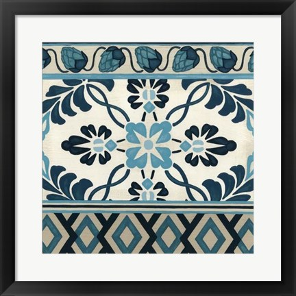 Framed Non-Embellished Indigo Frieze I Print