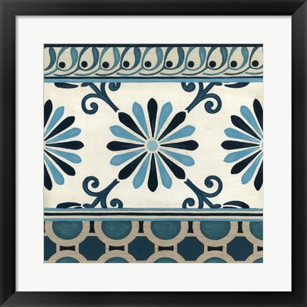 Framed Non-Embellished Indigo Frieze II Print