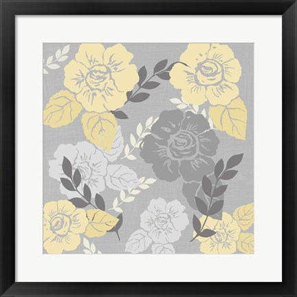 Framed Yellow Roses on Grey I Print