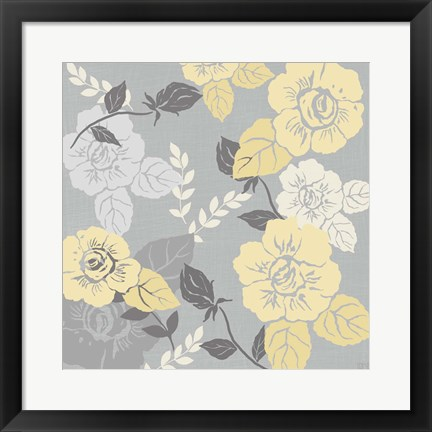 Framed Yellow Roses on Grey II Print