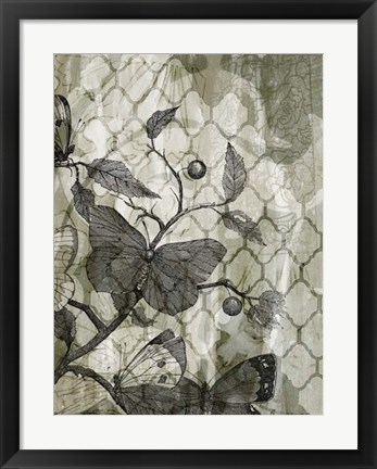 Framed Arabesque Butterflies I Print