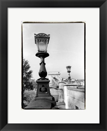 Framed Chain Bridge over the Danube River Print