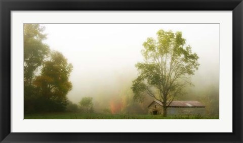 Framed Fog at the Farm Print
