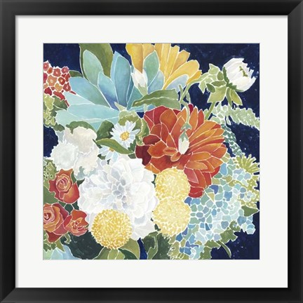 Framed Midnight Florals III Print