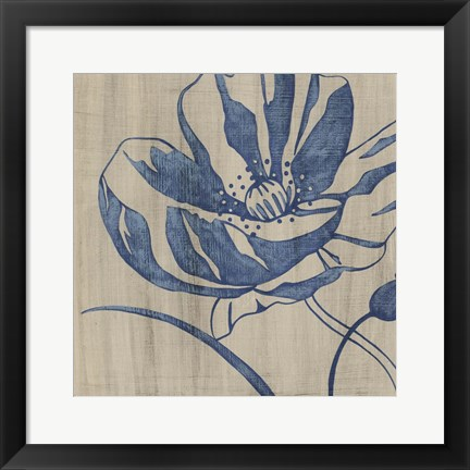 Framed Indigo Poppy Print