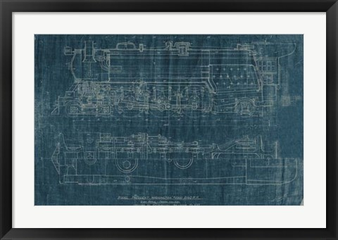 Framed Train Blueprint I Print