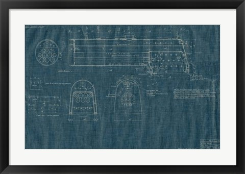 Framed Train Blueprint IV Print