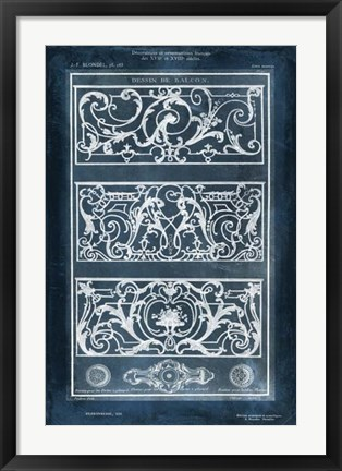 Framed Ornamental Iron Blueprint II Print