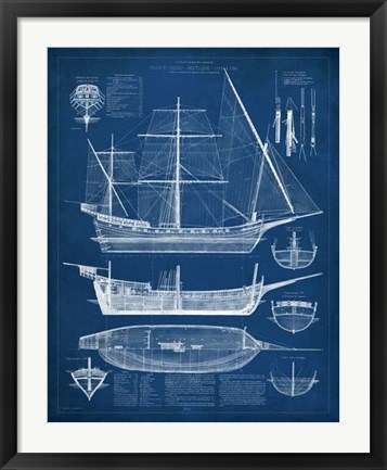 Framed Antique Ship Blueprint I Print
