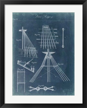 Framed Nautical Detail Blueprint II Print