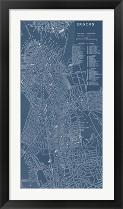 Framed Graphic Map of Boston Print