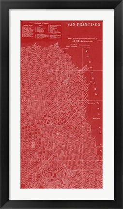 Framed Graphic Map of San Francisco Print