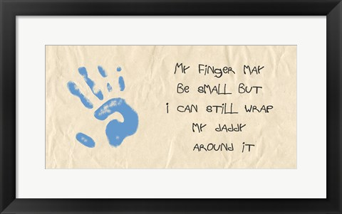 Framed My Finger May Be Small Blue Handprint Print
