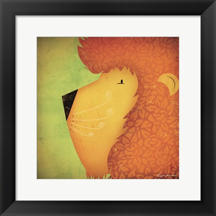 Framed Lion WOW Print