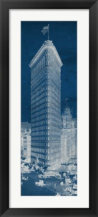 Framed Flat Iron 1909 Blueprint Panel Print