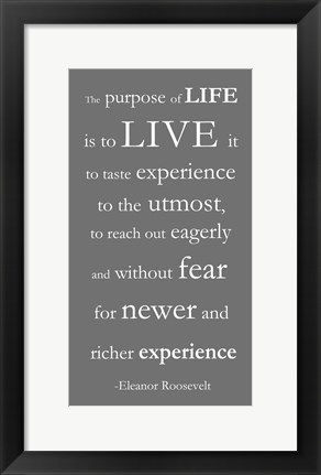 Framed Purpose of Life Gray Print