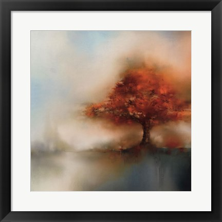 Framed Morning Mist & Maple I Print