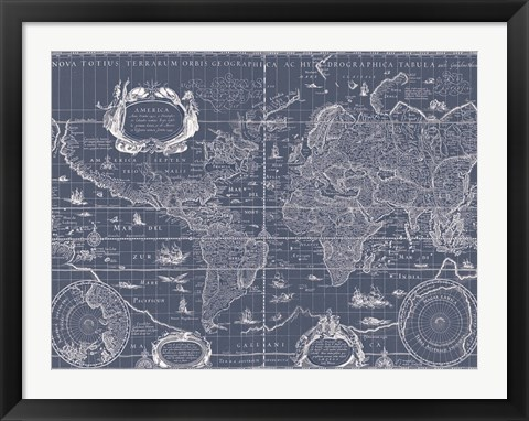 Framed Blueprint World Map Print