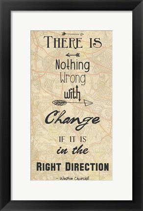 Framed Right Direction -Winston Churchill Print