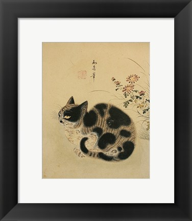 Framed Autumn Cat in a Garden with Chrysanthemum Print