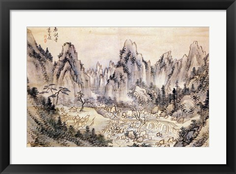 Framed Pyohun Temple at Diamond Mountains Print