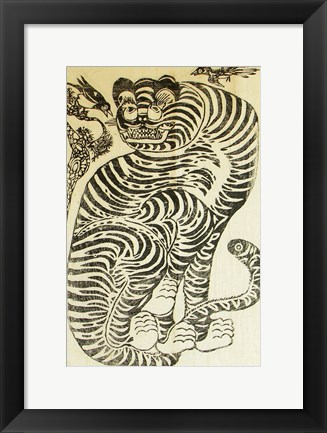 Framed Korean Folk Tiger Print