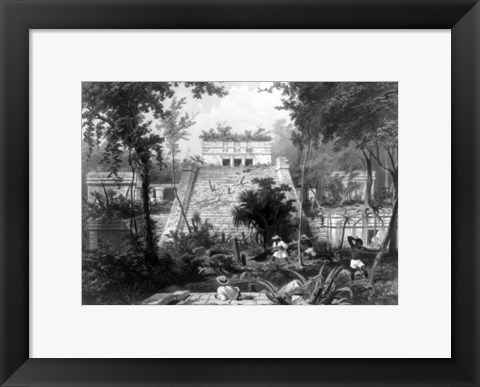 Framed Mayan Indian monument in the Yucatan Penninsula of Mexico Print