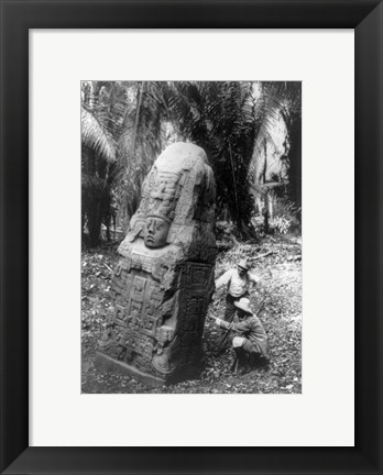 Framed Mayan Indian Monument Print