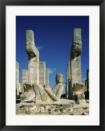 Framed Mayan Statues Temple of the Warriors Print