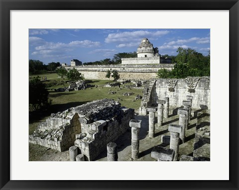 Framed Old ruins of an observatory, Chichen Itza Print