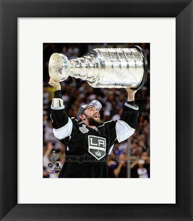 Framed Alec Martinez with the Stanley Cup Game 5 of the 2014 Stanley Cup Finals Print