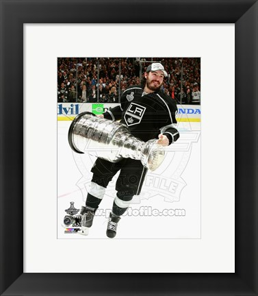 Framed Drew Doughty with the Stanley Cup Game 5 of the 2014 Stanley Cup Finals Print