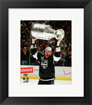 Framed Jeff Carter with the Stanley Cup Game 5 of the 2014 Stanley Cup Finals Print