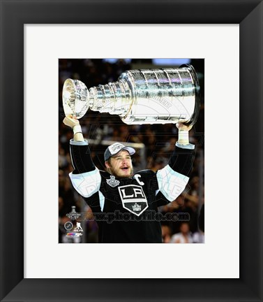 Framed Dustin Brown with the Stanley Cup Game 5 of the 2014 Stanley Cup Finals Print