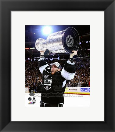 Framed Jonathan Quick with the Stanley Cup Game 5 of the 2014 Stanley Cup Finals Print