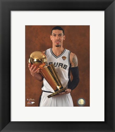 Framed Danny Green with the NBA Championship Trophy Game 5 of the 2014 NBA Finals Print