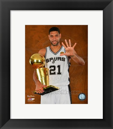 Framed Tim Duncan with the NBA Championship Trophy Game 5 of the 2014 NBA Finals Print