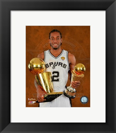 Framed Kawhi Leonard with the NBA Championship & MVP Trophies Game 5 of the 2014 NBA Finals Print