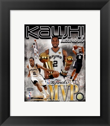 Framed Kawhi Leonard 2014 NBA Finals MVP Portrait Plus Print