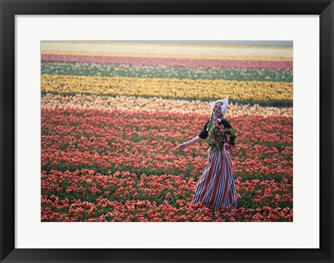 Framed Dutch Girl in Tulip Fields Print